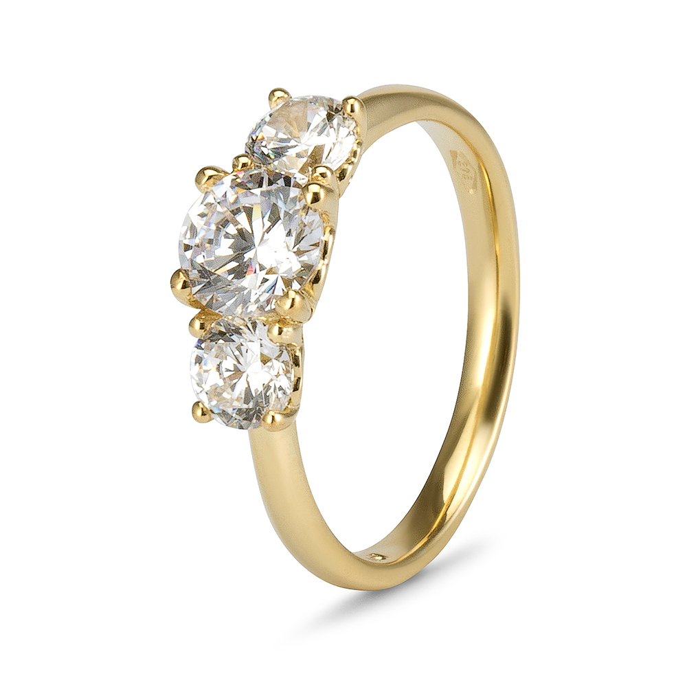 9ct Yellow Gold Cubic Zirconia 3 Stone Hearts Cut Out Sides Ring 1 50ct Christel Jewellery